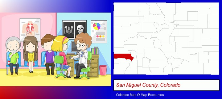 a clinic, showing a doctor and four patients; San Miguel County, Colorado highlighted in red on a map