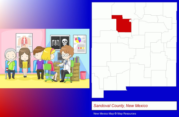 a clinic, showing a doctor and four patients; Sandoval County, New Mexico highlighted in red on a map