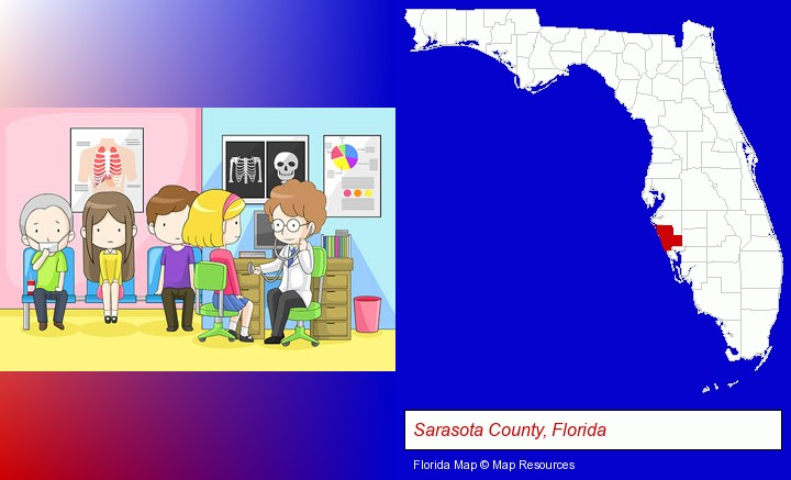 a clinic, showing a doctor and four patients; Sarasota County, Florida highlighted in red on a map