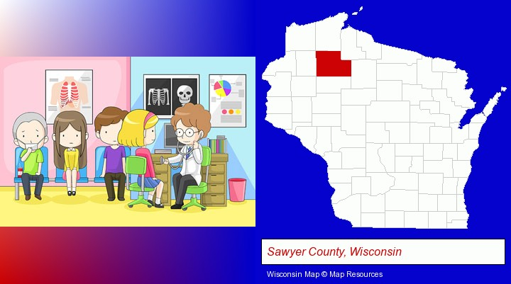 a clinic, showing a doctor and four patients; Sawyer County, Wisconsin highlighted in red on a map