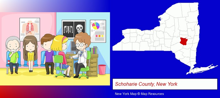a clinic, showing a doctor and four patients; Schoharie County, New York highlighted in red on a map