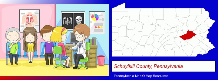 a clinic, showing a doctor and four patients; Schuylkill County, Pennsylvania highlighted in red on a map