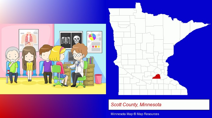a clinic, showing a doctor and four patients; Scott County, Minnesota highlighted in red on a map