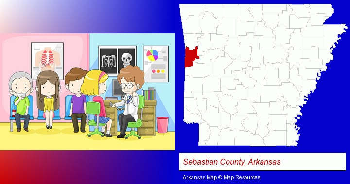 a clinic, showing a doctor and four patients; Sebastian County, Arkansas highlighted in red on a map