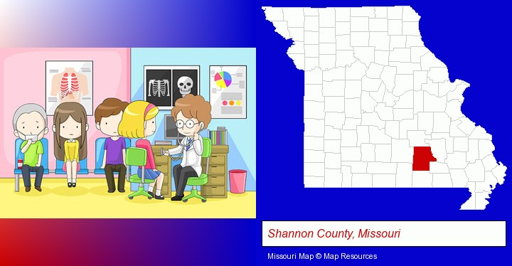 a clinic, showing a doctor and four patients; Shannon County, Missouri highlighted in red on a map