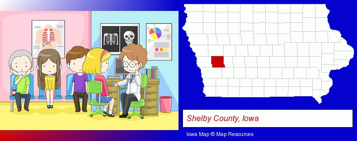 a clinic, showing a doctor and four patients; Shelby County, Iowa highlighted in red on a map