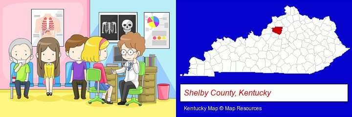 a clinic, showing a doctor and four patients; Shelby County, Kentucky highlighted in red on a map