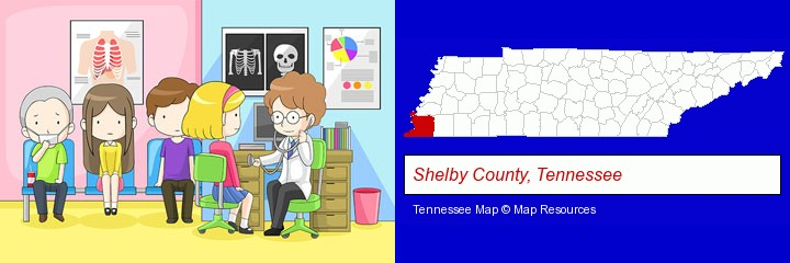 a clinic, showing a doctor and four patients; Shelby County, Tennessee highlighted in red on a map