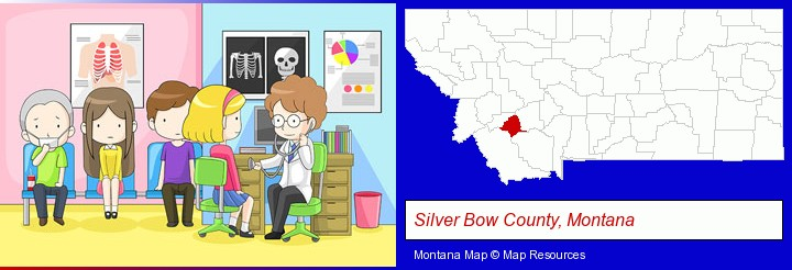 a clinic, showing a doctor and four patients; Silver Bow County, Montana highlighted in red on a map