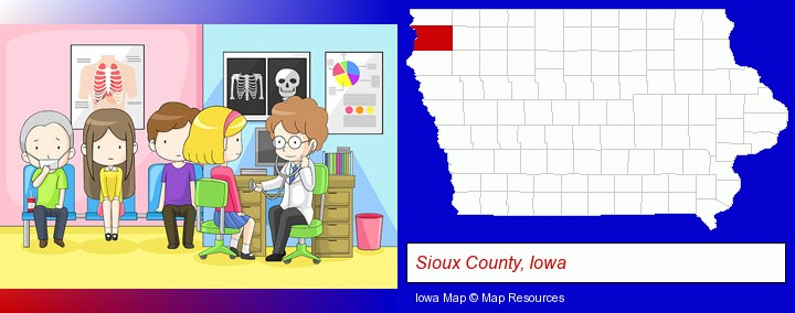 a clinic, showing a doctor and four patients; Sioux County, Iowa highlighted in red on a map
