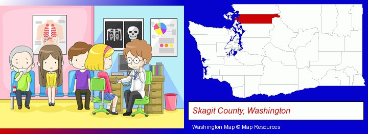 a clinic, showing a doctor and four patients; Skagit County, Washington highlighted in red on a map