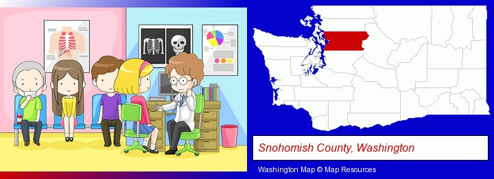 a clinic, showing a doctor and four patients; Snohomish County, Washington highlighted in red on a map