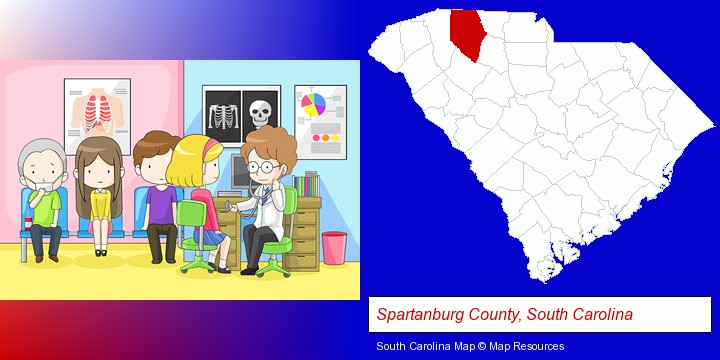 a clinic, showing a doctor and four patients; Spartanburg County, South Carolina highlighted in red on a map