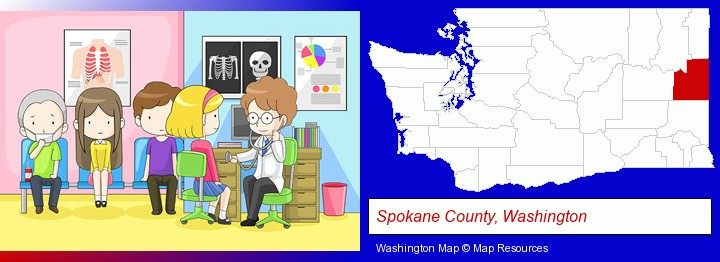 a clinic, showing a doctor and four patients; Spokane County, Washington highlighted in red on a map