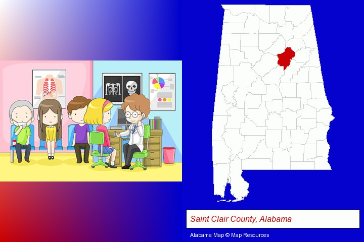 a clinic, showing a doctor and four patients; Saint Clair County, Alabama highlighted in red on a map