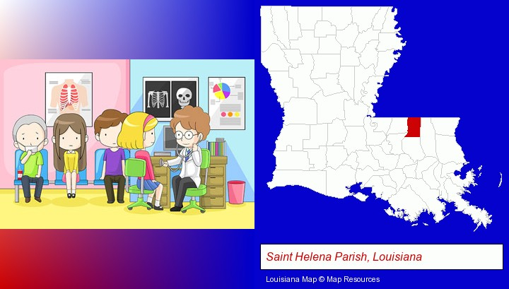 a clinic, showing a doctor and four patients; Saint Helena Parish, Louisiana highlighted in red on a map