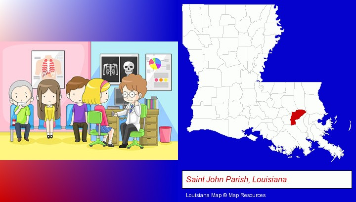 a clinic, showing a doctor and four patients; Saint John Parish, Louisiana highlighted in red on a map