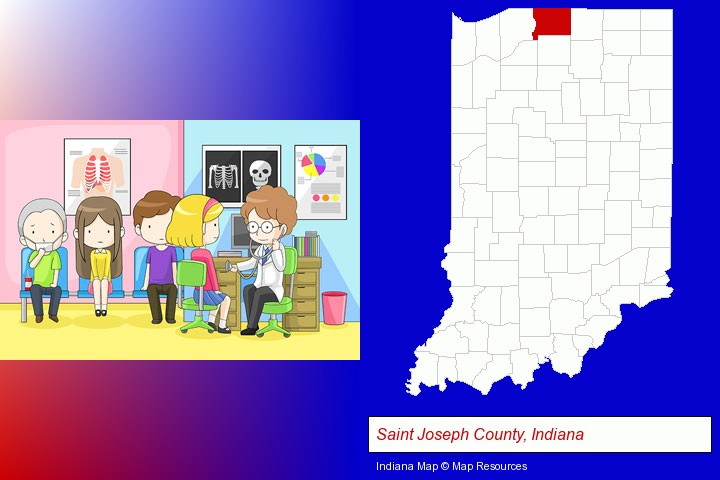 a clinic, showing a doctor and four patients; Saint Joseph County, Indiana highlighted in red on a map
