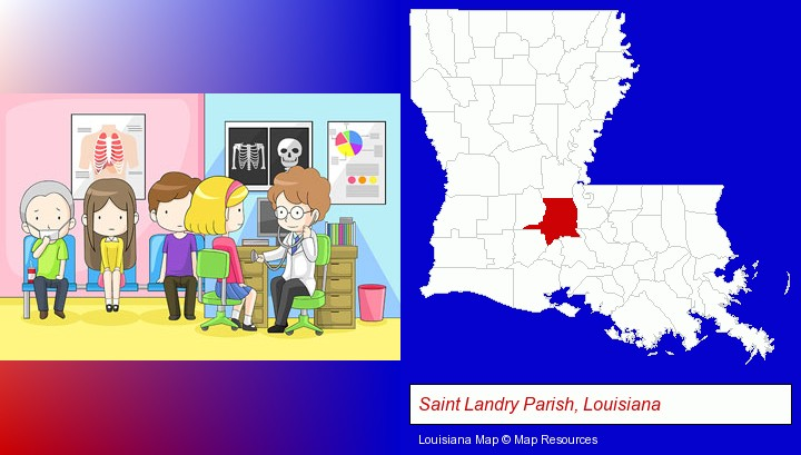 a clinic, showing a doctor and four patients; Saint Landry Parish, Louisiana highlighted in red on a map