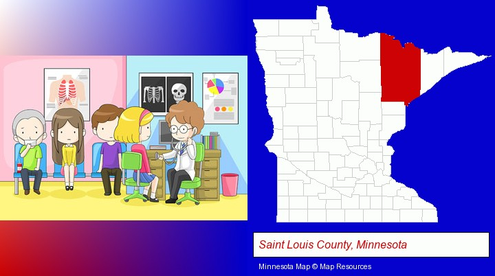 a clinic, showing a doctor and four patients; Saint Louis County, Minnesota highlighted in red on a map