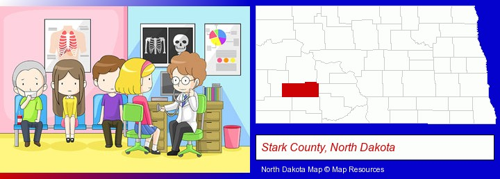 a clinic, showing a doctor and four patients; Stark County, North Dakota highlighted in red on a map