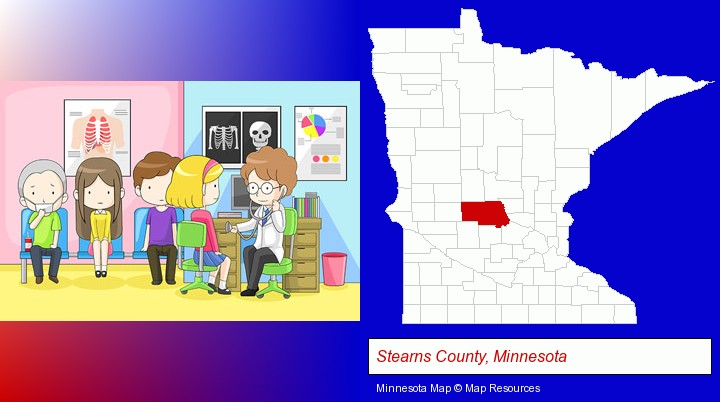a clinic, showing a doctor and four patients; Stearns County, Minnesota highlighted in red on a map