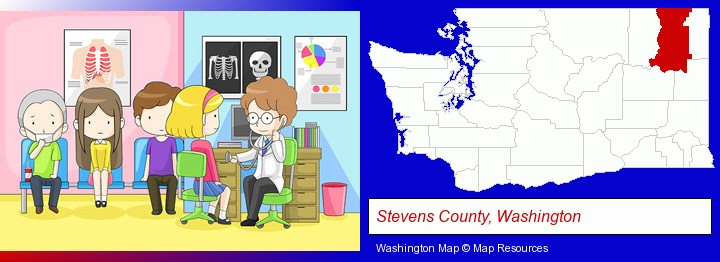 a clinic, showing a doctor and four patients; Stevens County, Washington highlighted in red on a map