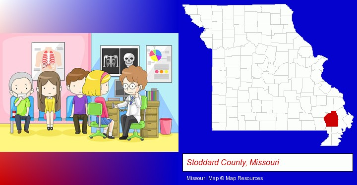 a clinic, showing a doctor and four patients; Stoddard County, Missouri highlighted in red on a map