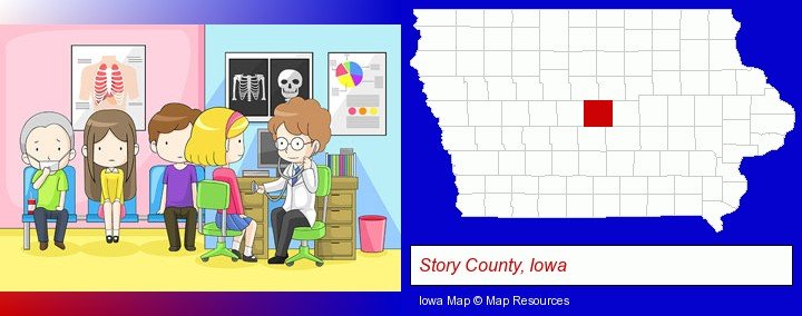a clinic, showing a doctor and four patients; Story County, Iowa highlighted in red on a map