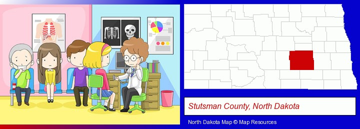 a clinic, showing a doctor and four patients; Stutsman County, North Dakota highlighted in red on a map
