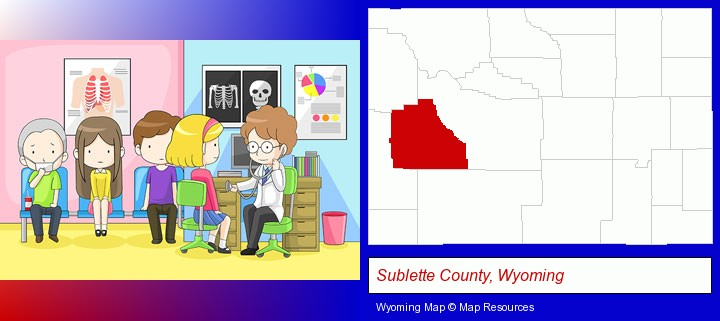 a clinic, showing a doctor and four patients; Sublette County, Wyoming highlighted in red on a map
