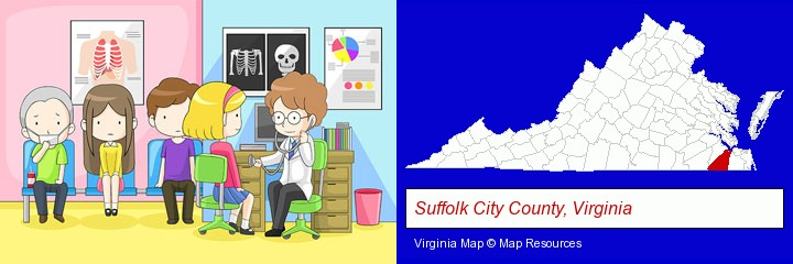 a clinic, showing a doctor and four patients; Suffolk City County, Virginia highlighted in red on a map