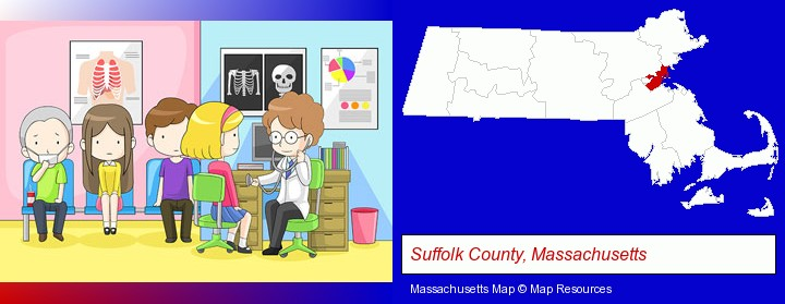 a clinic, showing a doctor and four patients; Suffolk County, Massachusetts highlighted in red on a map
