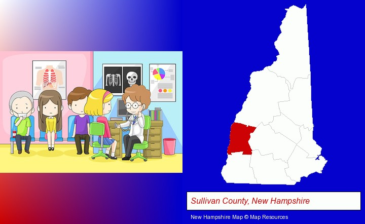 a clinic, showing a doctor and four patients; Sullivan County, New Hampshire highlighted in red on a map