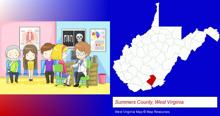 a clinic, showing a doctor and four patients; Summers County, West Virginia highlighted in red on a map