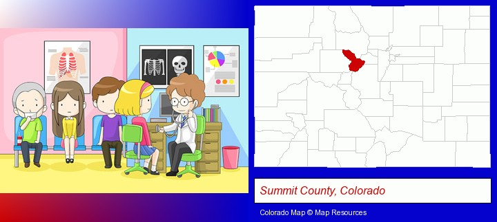 a clinic, showing a doctor and four patients; Summit County, Colorado highlighted in red on a map