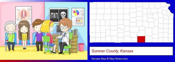 a clinic, showing a doctor and four patients; Sumner County, Kansas highlighted in red on a map