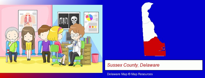 a clinic, showing a doctor and four patients; Sussex County, Delaware highlighted in red on a map