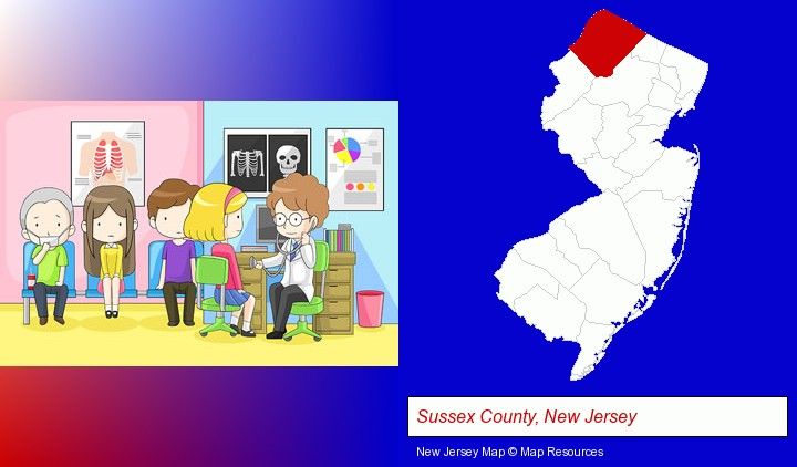 a clinic, showing a doctor and four patients; Sussex County, New Jersey highlighted in red on a map