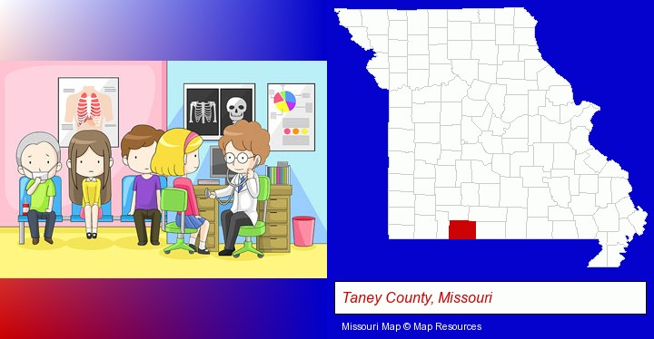 a clinic, showing a doctor and four patients; Taney County, Missouri highlighted in red on a map