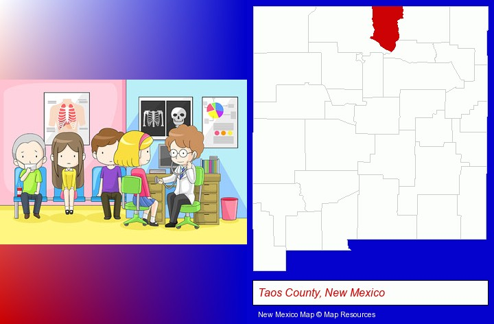 a clinic, showing a doctor and four patients; Taos County, New Mexico highlighted in red on a map