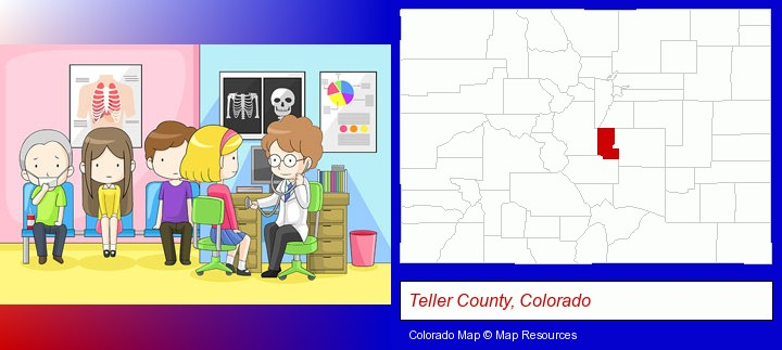 a clinic, showing a doctor and four patients; Teller County, Colorado highlighted in red on a map