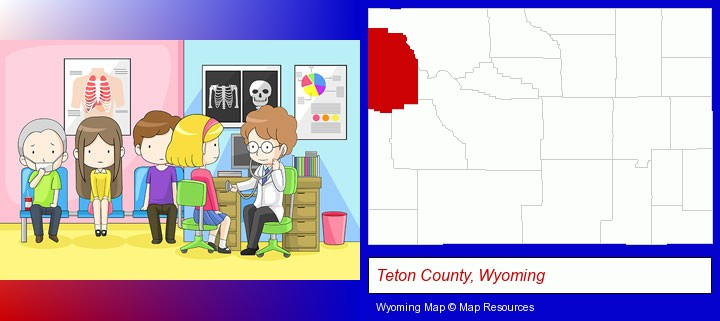 a clinic, showing a doctor and four patients; Teton County, Wyoming highlighted in red on a map