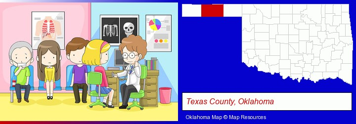 a clinic, showing a doctor and four patients; Texas County, Oklahoma highlighted in red on a map