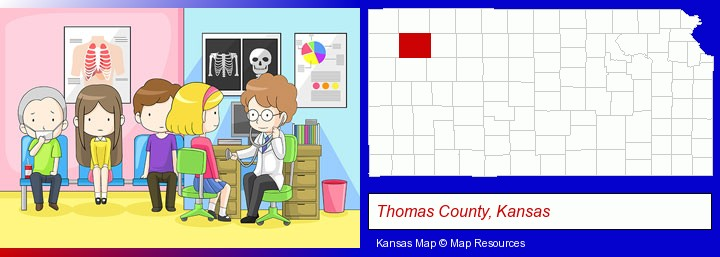 a clinic, showing a doctor and four patients; Thomas County, Kansas highlighted in red on a map