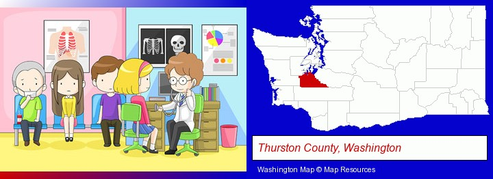 a clinic, showing a doctor and four patients; Thurston County, Washington highlighted in red on a map