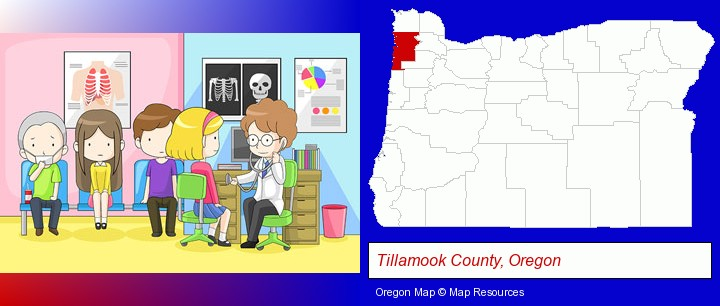 a clinic, showing a doctor and four patients; Tillamook County, Oregon highlighted in red on a map