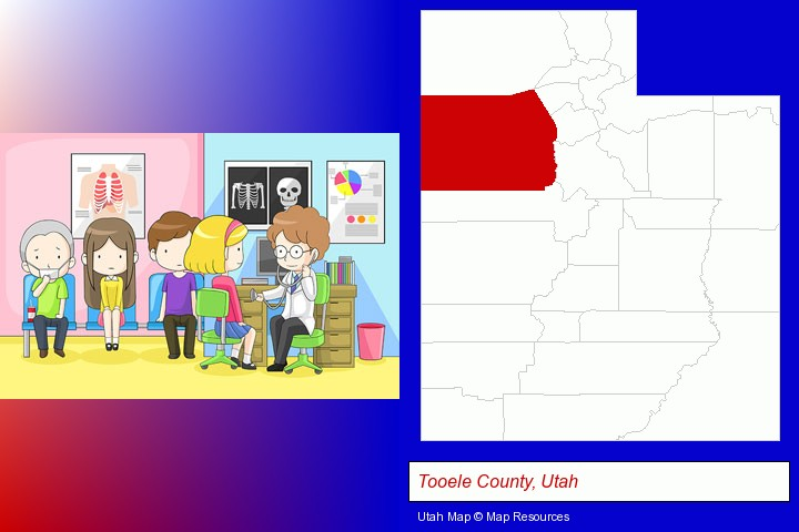 a clinic, showing a doctor and four patients; Tooele County, Utah highlighted in red on a map
