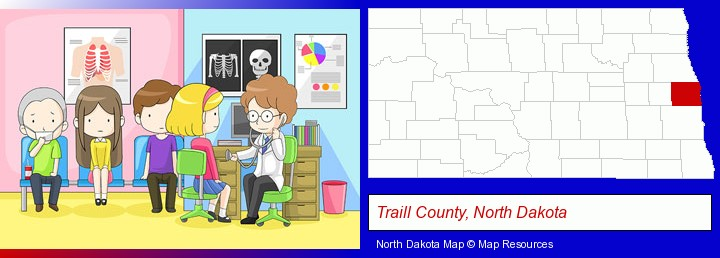 a clinic, showing a doctor and four patients; Traill County, North Dakota highlighted in red on a map