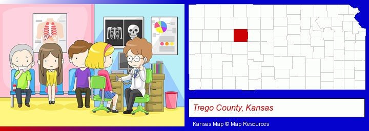 a clinic, showing a doctor and four patients; Trego County, Kansas highlighted in red on a map